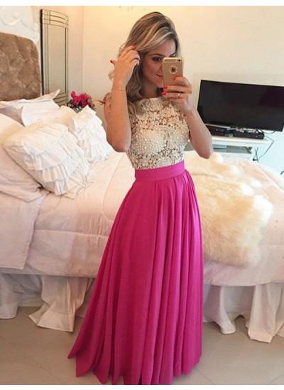 A-Linien-/Princess-Stil U-Ausschnitt Bodenlang Chiffon Abendkleid mit Spitze
