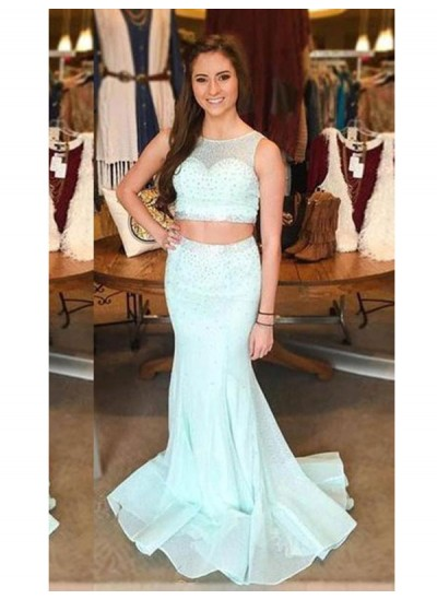 Trompeten-/Meerjungfrauenkleider U-Ausschnitt Pinselschleppe Tüll zweiteilige Abendkleid mit Perlenstickereien
