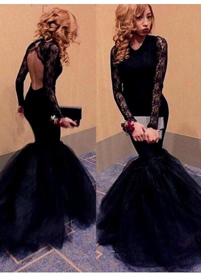 Trompeten-/Meerjungfrauenkleider U-Ausschnitt Bodenlang Tüll Abendkleid mit Spitze