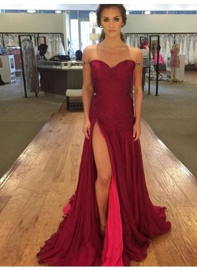 A-Linien-/Princess-Stil Schulterfrei Bodenlang Chiffon Abendkleid mit Schlitz