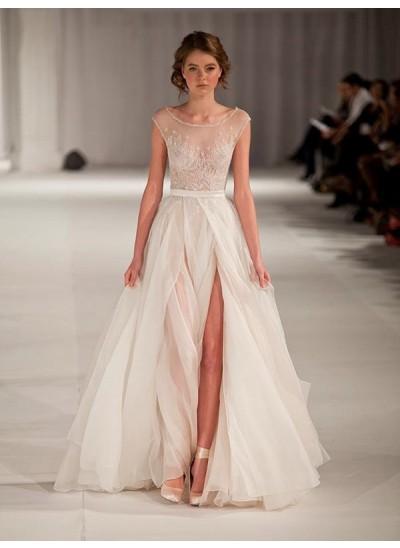 A-Linien-/Princess-Stil U-Ausschnitt Bodenlang Organza Abendkleid Perlenstickereien mit Schlitz