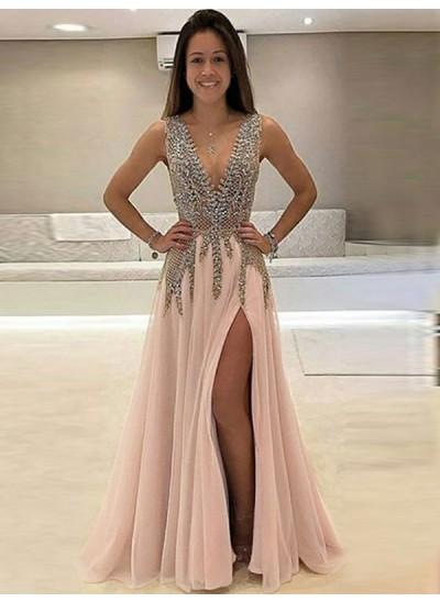 A-Linien-/Princess-Stil V-Ausschnitt Bodenlang Tüll Ärmellos Perlenstickereien Abendkleid mit Schlitz
