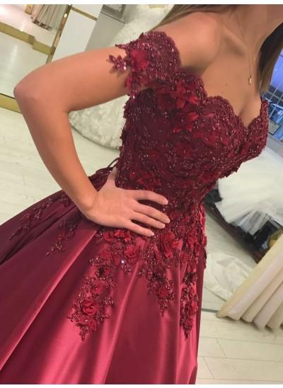Duchesse-Stil Schulterfrei Bodenlang Satin Ärmellos Abendkleid mit Applikationen