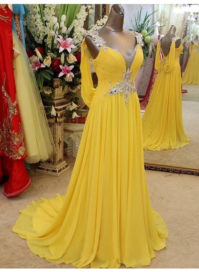 A-Linien-/Princess-Stil Träger Ärmellos Pinselschleppe Chiffon Abschlussballkleid mit Perlenstickereien