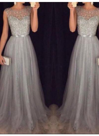 A-Linien-/Princess-Stil U-Ausschnitt Ärmellos Tüll Pinselschleppe Abendkleid mit Perlenstickereien