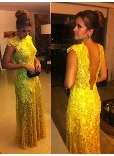 A-Linien-/Princess-Stil Stehkragen Kurze Ärmel Spitze Bodenlang Abendkleid mit Spitze