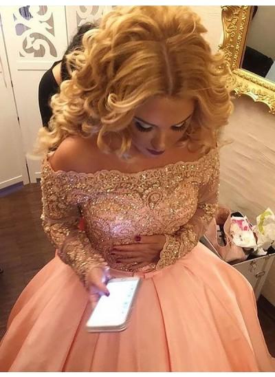 Duchesse-Stil Schulterfrei Bodenlang Lange Ärmel Satin Abschlussballkleid mit Perlenstickereien