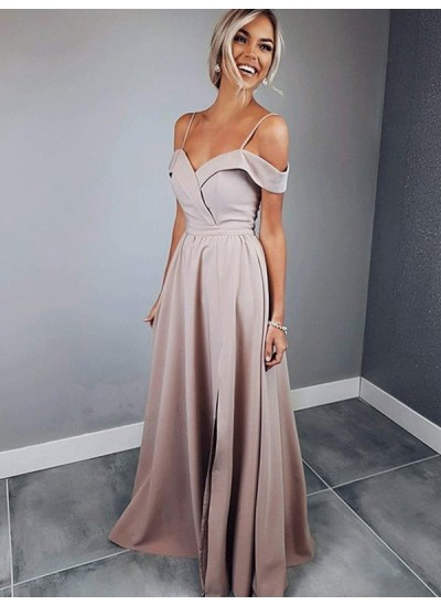 A-Linien-/Princess-Stil Spaghettiträger Bodenlang Satin Kurze Ärmel Abendkleid mit Rüschen
