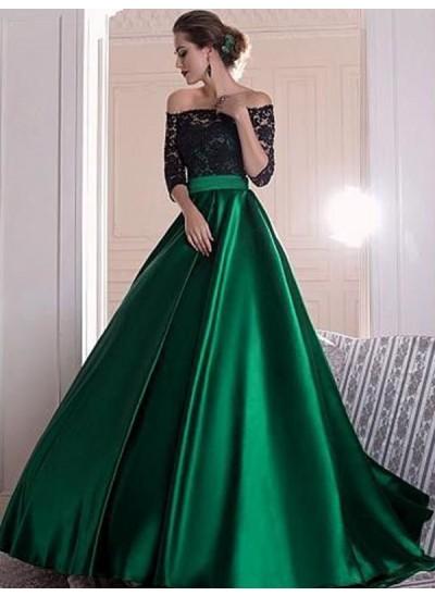 A-Linien-/Princess-Stil Schulterfrei Pinselschleppe Satin Dreiviertelärmel Kleid mit Rüschen