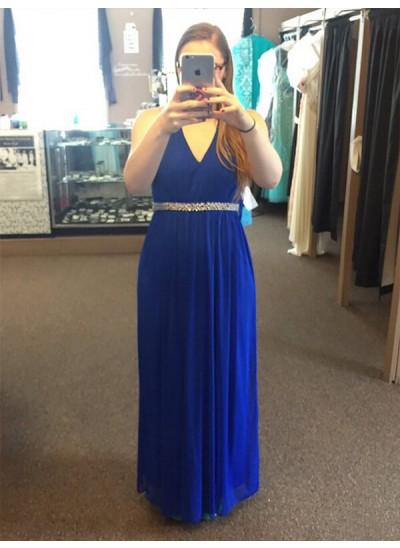 A-Linien-/Princess-Stil V-Ausschnitt Bodenlang Ärmellos Chiffon Abendkleid in Übergröße mit Perlenstickereien