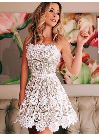 A-Linien-/Princess-Stil Träger Spitze Ärmellos Kurze Abendkleid mit Perlenstickereien