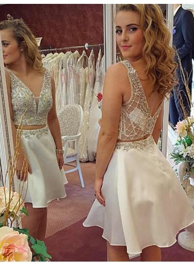 A-Linien-/Princess-Stil V-Ausschnitt Chiffon Ärmellos Kurze zweiteilige Kleid mit Perlenstickereien