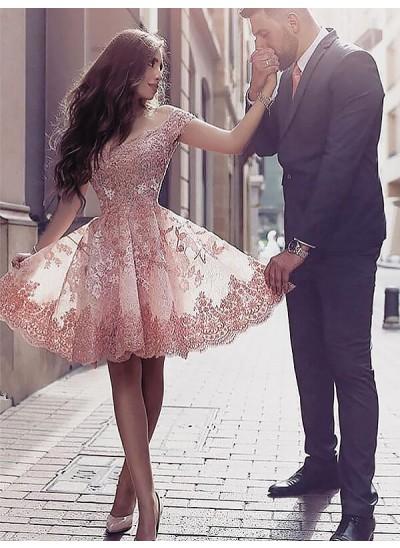A-Linien-/Princess-Stil U-Ausschnitt Tüll Ärmellos Knielang Kleid mit Applikationen