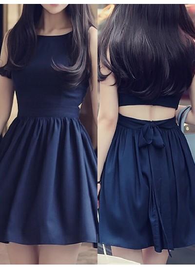 A-Linien-/Princess-Stil U-Ausschnitt Chiffon Ärmellos Kurze Kleid mit Schleifen