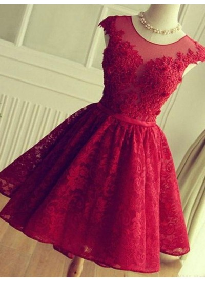 A-Linien-/Princess-Stil Juwel-Ausschnitt Spitze Ärmellos Kurze Rückenfrei Abiballkleid mit Spitze