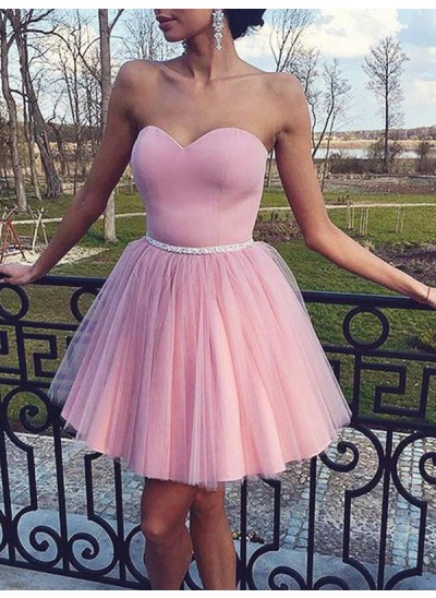 A-Linien-/Princess-Stil Herzausschnitt Tüll Ärmellos Knielang Kleid mit Perlenstickereien