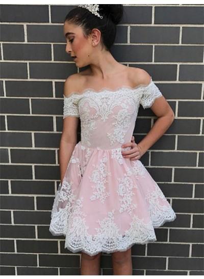 A-Linien-/Princess-Stil Schulterfrei Chiffon Ärmellos Knielang Kleid mit Spitze