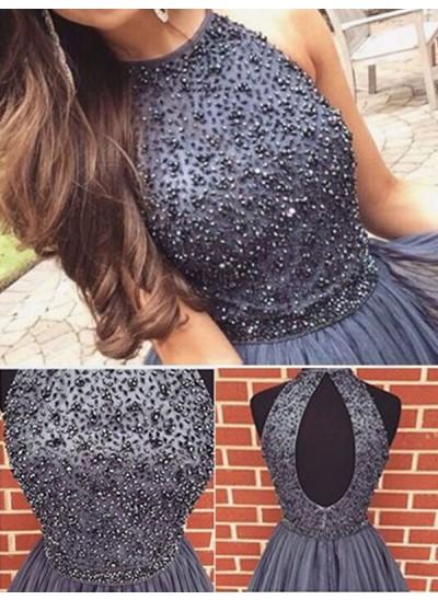 A-Linien-/Princess-Stil U-Ausschnitt Tüll Ärmellos Kurze Abiballkleid mit Perlenstickereien