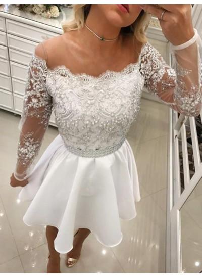 A-Linien-/Princess-Stil Schulterfrei Chiffon Lange Ärmel Kurze Cocktailkleid mit Perlenstickereien