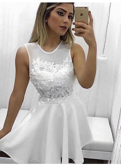 A-Linien-/Princess-Stil U-Ausschnitt Satin Ärmellos Kurze/Mini Kleid mit Applikationen