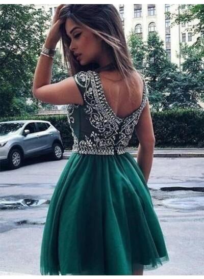 A-Linien-/Princess-Stil U-Ausschnitt Tüll Ärmellos Kurze Cocktailkleid mit Perlenstickereien
