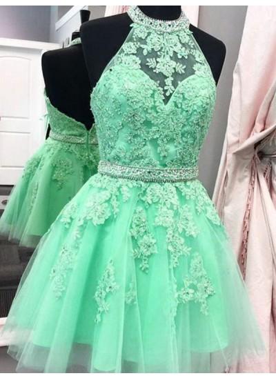 A-Linien-/Princess-Stil Neckholder Tüll Ärmellos Kurze/Mini Kleid mit Applikationen