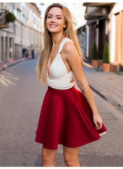 A-Linien-/Princess-Stil V-Ausschnitt Satin Ärmellos Kurze/Mini Kleid mit Rüschen