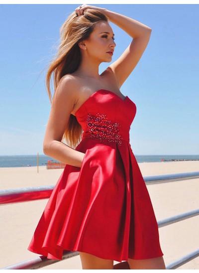 A-Linien-/Princess-Stil Herzausschnitt Satin Ärmellos Kurze/Mini Kleid mit Rüschen