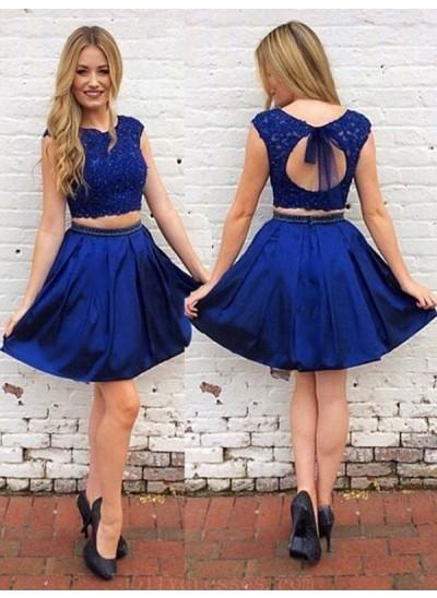 A-Linien-/Princess-Stil U-Ausschnitt Satin Ärmellos Kurze/Mini Zwei Stück Kleid mit Schärpen