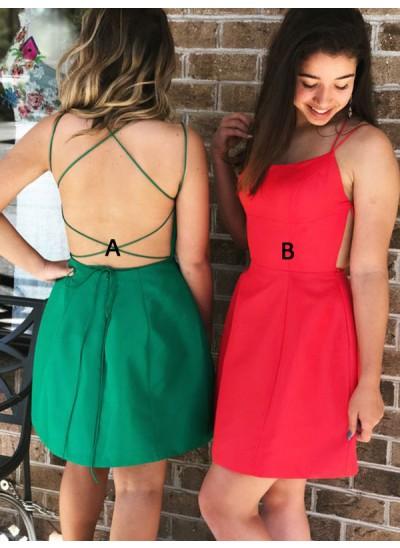 A-Linien-/Princess-Stil Spaghettiträger Satin Ärmellos Kurze/Mini Kleid mit Rüschen