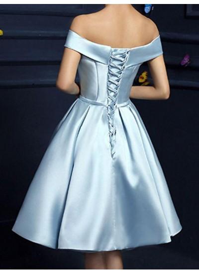 A-Linien-/Princess-Stil Schulterfrei Satin Ärmellos Knielang Kleid mit Schleifen