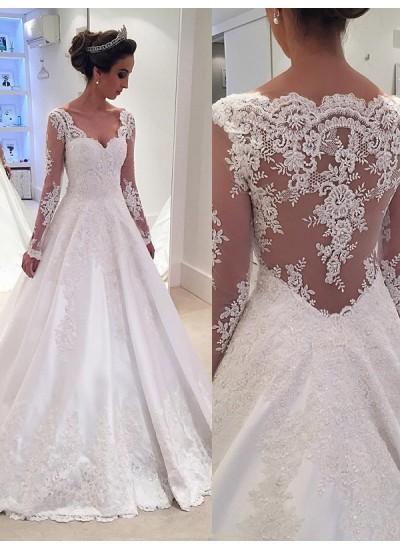 Duchesse-Stil V-Ausschnitt Lange Ärmel Satin Hofschleppe Brautkleid mit Spitze