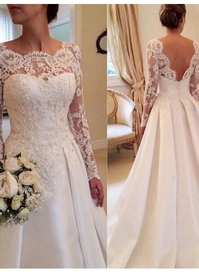 Duchesse-Stil U-Ausschnitt Lange Ärmel Satin Hofschleppe Brautkleid mit Spitze