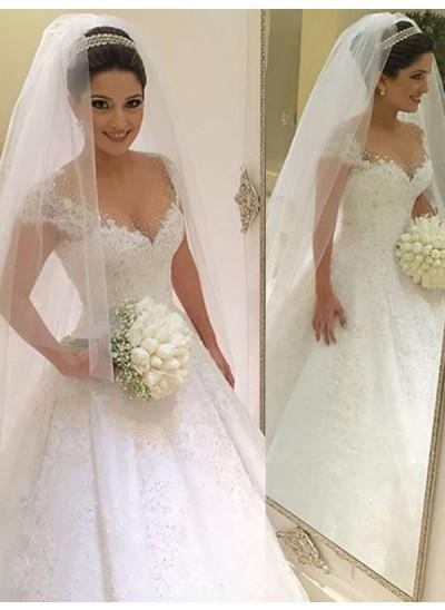 Duchesse-Stil V-Ausschnitt Ärmellos Tüll Bodenlang Brautkleid mit Perlenstickereien