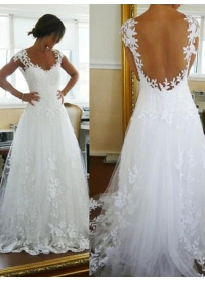 A-Linien-/Princess-Stil V-Ausschnitt Ärmellos Tüll Pinselschleppe Brautkleid mit Spitze