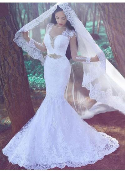Trompeten-/Meerjungfrauenkleider Herzausschnitt Hofschleppe Lange Ärmel Spitze Hochzeitskleid mit Applikationen