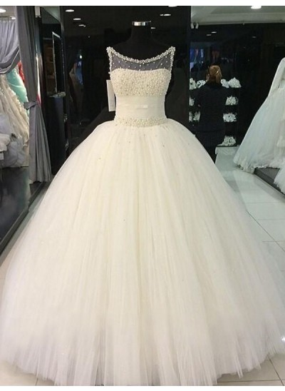 Duchesse-Stil U-Ausschnitt Bodenlang Ärmellos Tüll Brautkleid mit Perlenstickereien