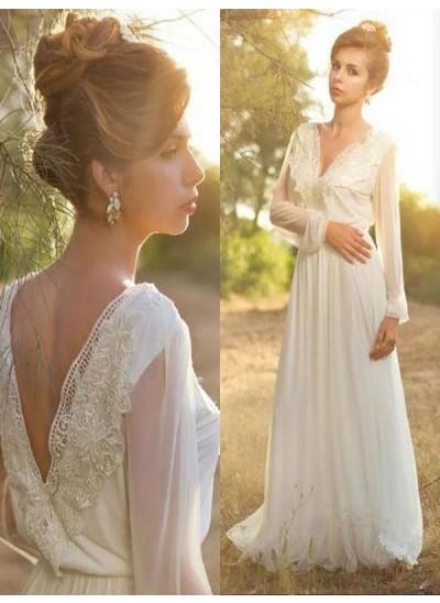 A-Linien-/Princess-Stil V-Ausschnitt Pinselschleppe Lange Ärmel Chiffon Brautkleid mit Spitze