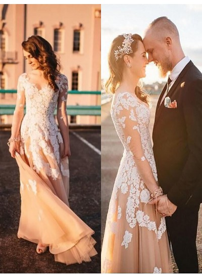 A-Linien-/Princess-Stil V-Ausschnitt Pinselschleppe Lange Ärmel Tüll Hochzeitskleid