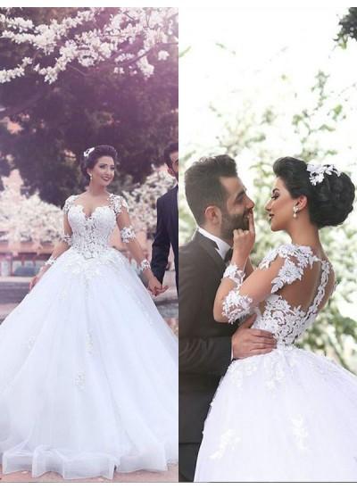 Duchesse-Stil Herzausschnitt Hofschleppe Lange Ärmel Tüll Brautkleid