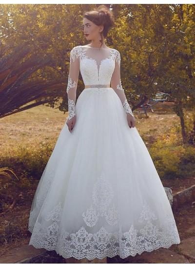 Duchesse-Stil Bateau-Ausschnitt Bodenlang Lange Ärmel Tüll Brautkleid