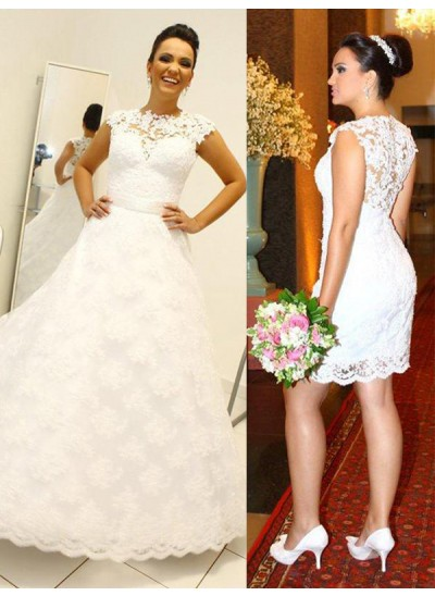 Duchesse-Stil U-Ausschnitt Bodenlang Ärmellos Spitze Hochzeitskleid