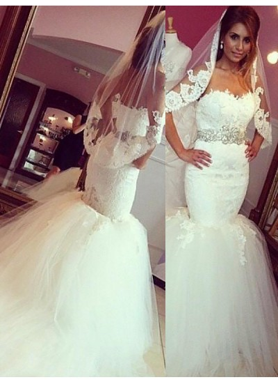 Trompeten-/Meerjungfrauenkleider Herzausschnitt Hofschleppe Ärmellos Tüll Hochzeitskleid