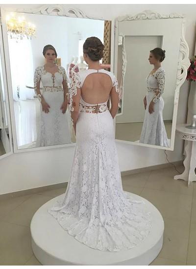 Etui-Linie U-Ausschnitt Pinselschleppe Lange Ärmel Spitze Hochzeitskleid