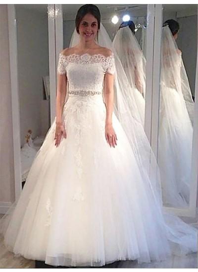Duchesse-Stil Schulterfrei Pinselschleppe Kurze Ärmel Tüll Brautkleid
