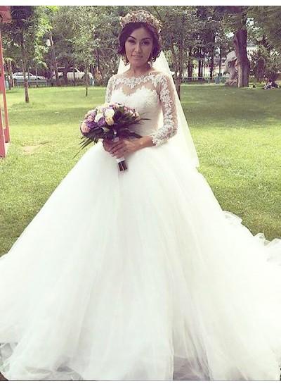 Duchesse-Stil Bateau-Ausschnitt Hofschleppe Lange Ärmel Tüll Hochzeitskleid