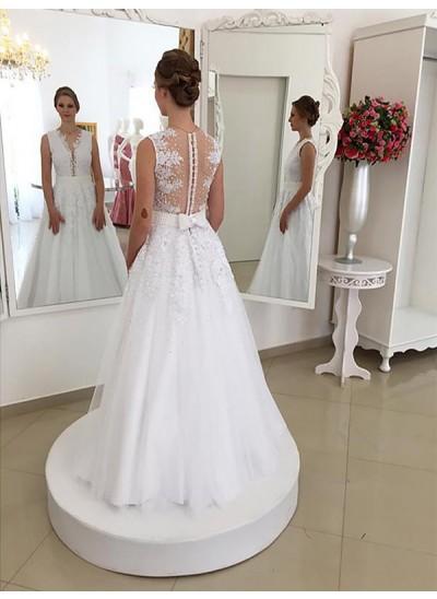 Trompeten-/Meerjungfrauenkleider U-Ausschnitt Pinselschleppe Ärmellos Brautkleid