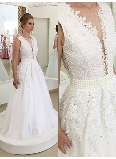 A-Linien-/Princess-Stil V-Ausschnitt Pinselschleppe Ärmellos Tüll Hochzeitskleid mit Applikationen