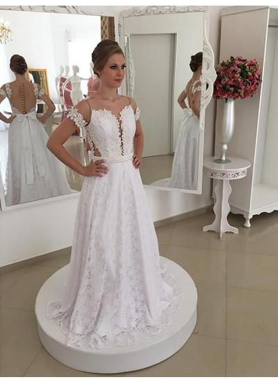 A-Linien-/Princess-Stil U-Ausschnitt Pinselschleppe Kurze Ärmel Brautkleid