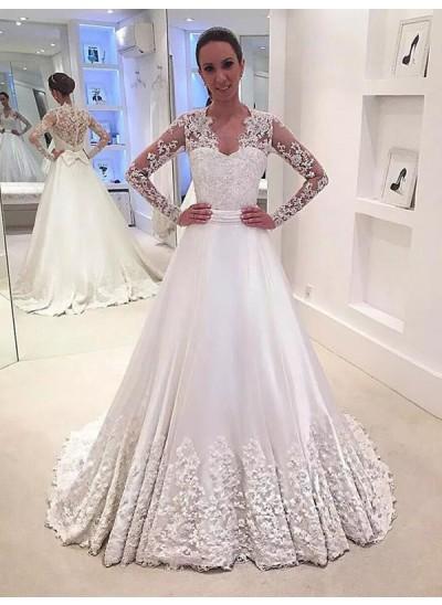 A-Linien-/Princess-Stil V-Ausschnitt Pinselschleppe Lange Ärmel Satin Brautkleid
